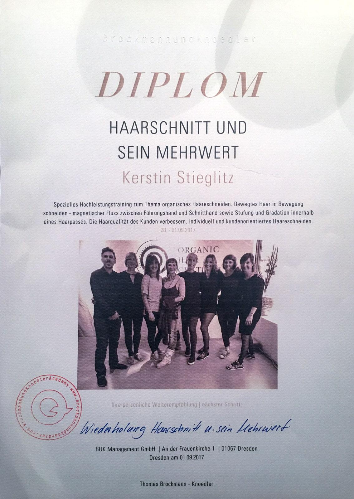 Diplom Kerstin Stieglit Brockmann und Knoedler